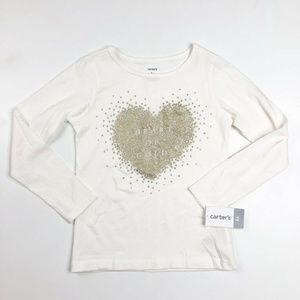 Carter's Girls Shimmery Heart Of Gold Shirt 6X